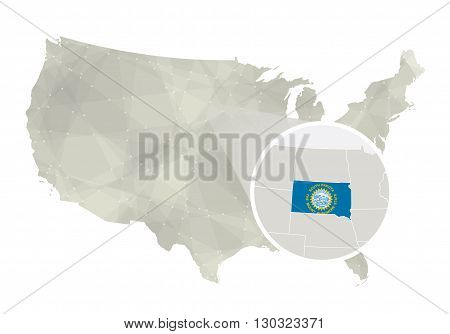 Polygonal Abstract Usa Map With Magnified South Dakota State.
