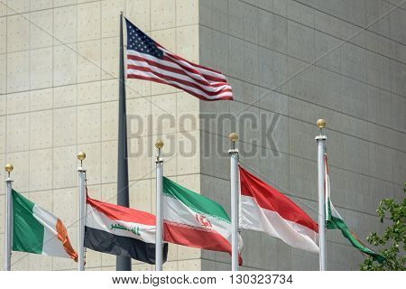 Flags Outside United Nations Building In New York