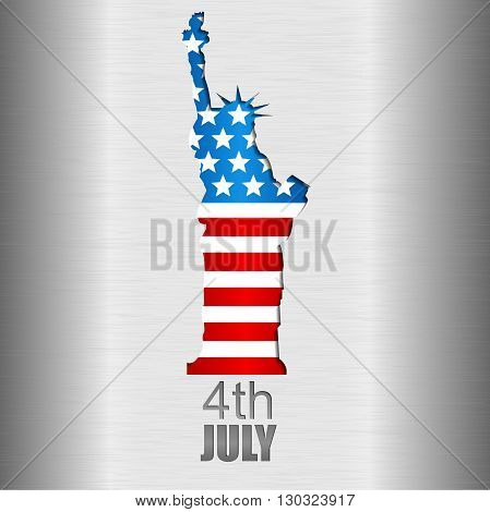Background with U.S. flag and statue of Liberty. 4th of July. Independence day of United states.