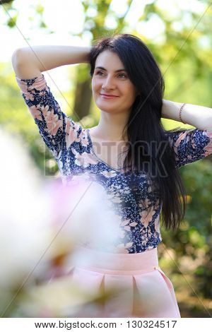 beautiful young woman in park