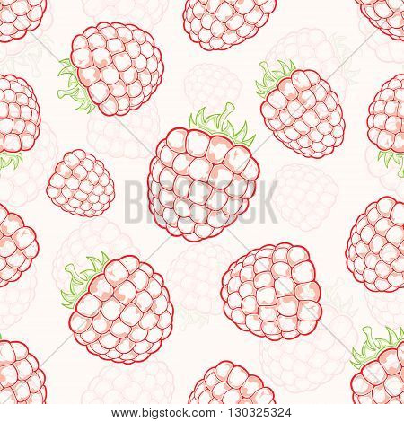 Raspberry seamless background with red ripe berries on white background, illustration.