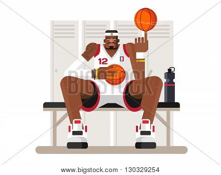 Cartoon basketball player. Athlete person, game and strong man, character sportsman, flat vector illustration