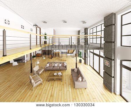 Loft Apartment Interior Top View 3D Rendering