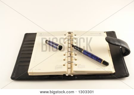 Leather Agenda With A Fountain Pen