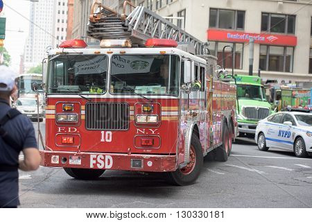 New York City - June 12 2015: Fireman Truck Going For Fire
