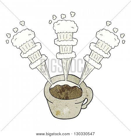 freehand textured cartoon hot coffee mug