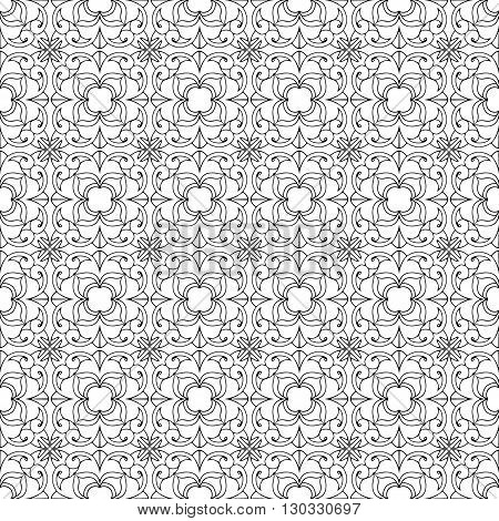 Vintage geometric rosette elements on white background. Vector seamless pattern
