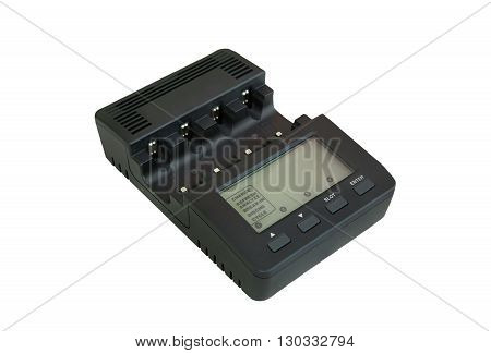 Battery charger with LCD, isolated on white background.