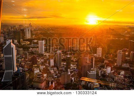 Idyllic view on Kuala Lumpur cityscape at sundown Malaysia