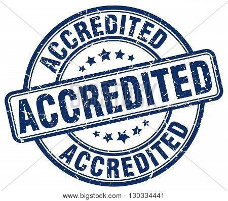 accredited blue grunge round vintage rubber stamp