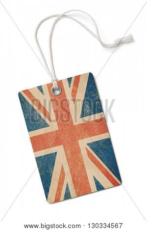 old paper cloth tag with The Great Britain flag isolated on white 3d illustration