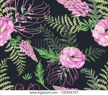Floral Pattern On Dark Background