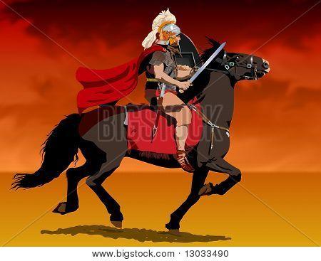 Roman centurion on horseback Illustration : Bigstock