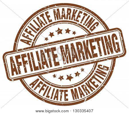 affiliate marketing brown grunge round vintage rubber stamp