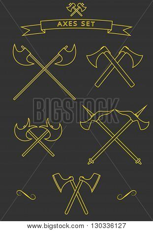 Crossed battle axes icon set. Vector battle axe. Battle axe icon with background and shadow. Cross battle axes set for game design clip art logo design emblem.