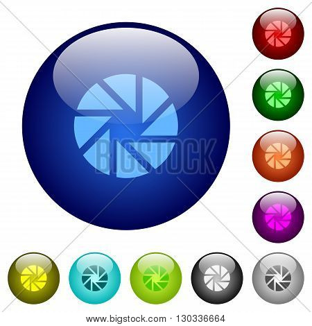 Set of color aperture glass web buttons.