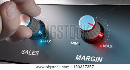 Profitable business concept sales and margin improvement. Compositing between a hand and 3d background.