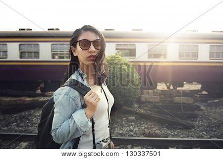 Trail Railroad Train Transport Travel Platform Concept