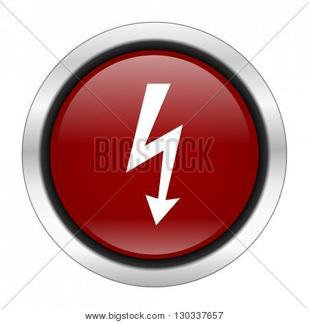 bolt icon, red round button isolated on white background, web design illustration