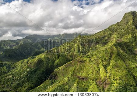 Kauai Green Mountain Aerial View Jurassic Park Movie Set