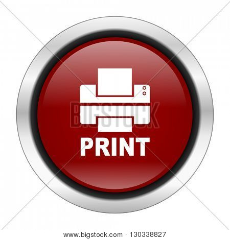 printer icon, red round button isolated on white background, web design illustration