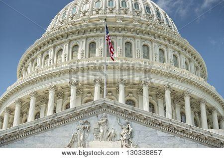 Washington Dc Capitol Detail On Cloudy Sky