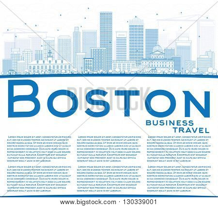 Outline Boston Skyline with Blue Buildings and Copy Space. Business Travel and Tourism Concept with Modern Buildings. Image for Presentation Banner Placard and Web Site.