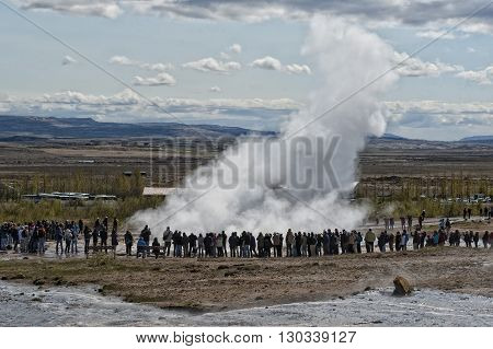 Geyser Eruption In Iceland