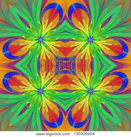 Multicolored symmetrical pattern in stained-glass window style on light. Artwork for creative design art and entertainment.