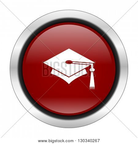 education icon, red round button isolated on white background, web design illustration