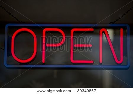 Open Neon Sign Isolated