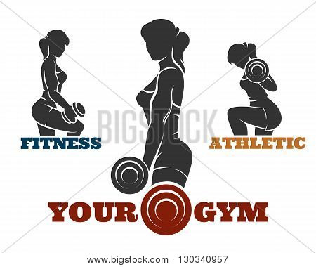 Fitness and gym logo set. Athletic women silhouettes. Fitness club bodybuilder exercises concept. Isolated on white background