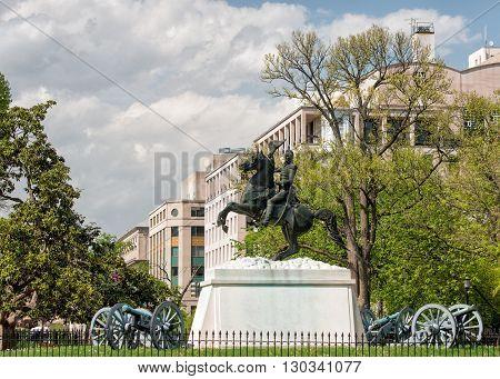 general jackson statue in washington DC detail