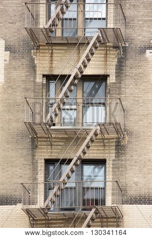 New York Manhattan Buildings Detail Of Fire Staircase