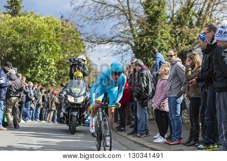 Conflans-Sainte-HonorineFrance-March 62016: The Dutch cyclist Lieuwe Westra of Astana Team riding during the prologue stage of Paris-Nice 2016.