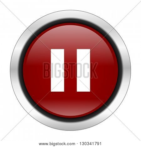 pause icon, red round button isolated on white background, web design illustration