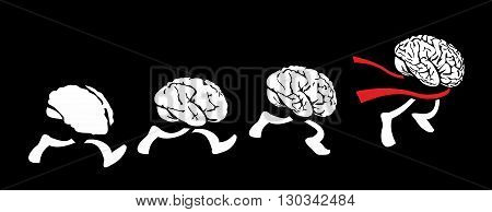 Brains run, the smartest - the fastest. People brain following the leader creative man. Leadership. Flat vector drawn illustration on background black.