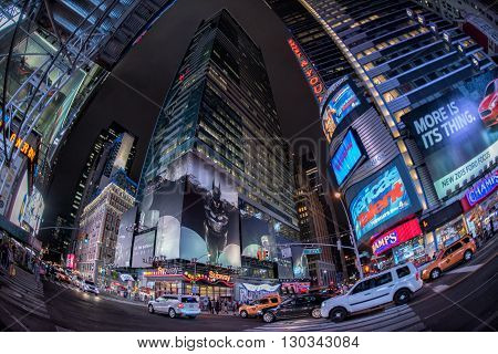 New York - Usa 16 June 2015 Times Square Moving People