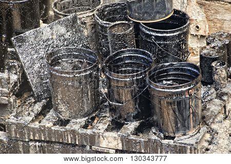 dirty oil petroleum barrel drum detail close