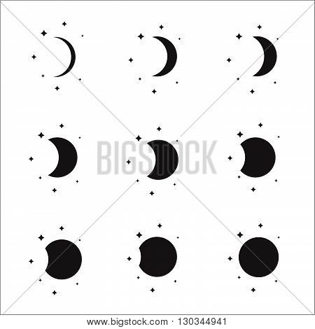 Moon Phases Silhouette Set