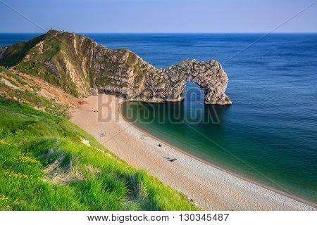 Durdle Door at the beach on the Jurassic Coast of Dorset, UK