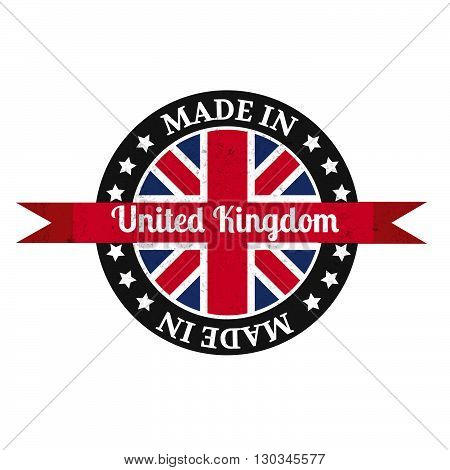 Made In U.k Badge With United Kingdom Flag Symbol