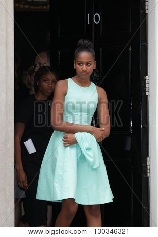 London, UK - 16th June 2015: Malia Obama seen leaving a 10 Downing street in London