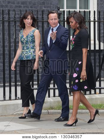 LONDON - JUN 16, 2015: Michelle Obama visit to 10 Downing street and is greeted by David and Samantha Cameron