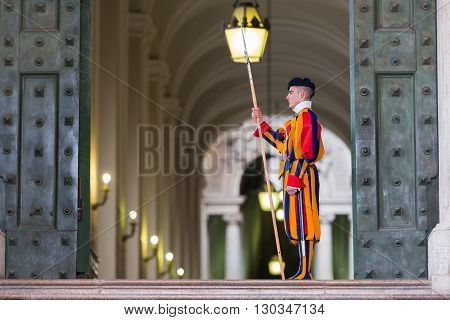 Vatican City, Italy - March 1, 2014 : A Member Of The Pontifical Swiss Guard, Vatican.