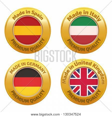 Made in Spain Italy Germany United Kingdom badges set