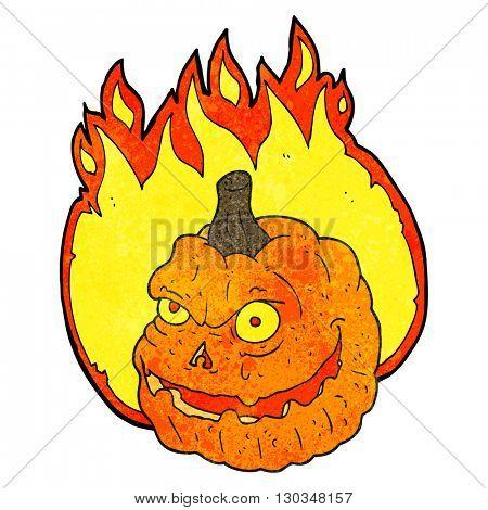 freehand textured cartoon spooky pumpkin
