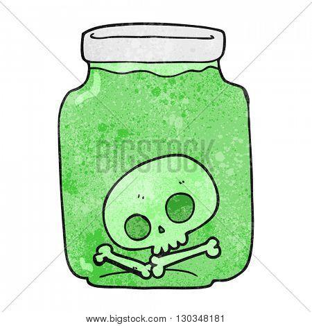 freehand textured cartoon jar with skull