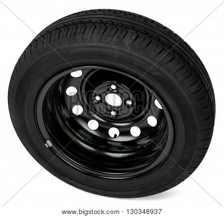 Car tyre, perspective view, isolated on white background
