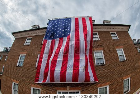 Giant America Flag In Alexandria City Hall